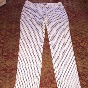 Women's Sharagano Summer Pants White Blue Size 4